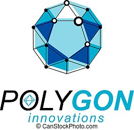 Technology corporate logotype. 3D origami abstract mesh object, vector design element.