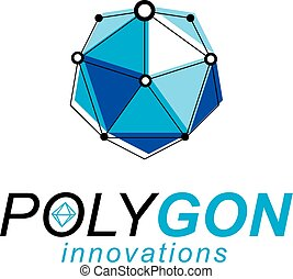 Technology corporate symbol. 3D origami abstract mesh object, vector design element.