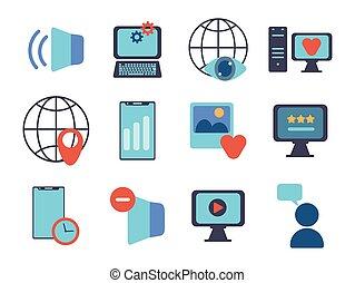 technology data digital multimedia icons set