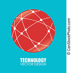 Technology design over blue background, vector illustration