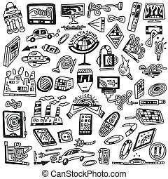 technology devices doodles - vector icons