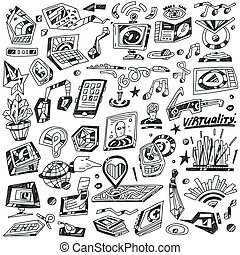 Technology devices ,Science - vector icons