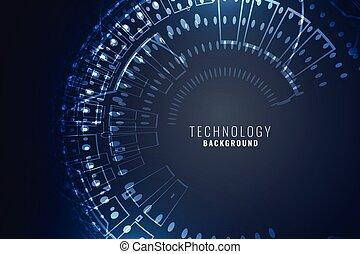 technology digital background with circular mesh circuit diagram