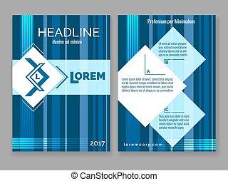 Technology digital brochure template. Vector abstract blue stripes design modern frame for your logo