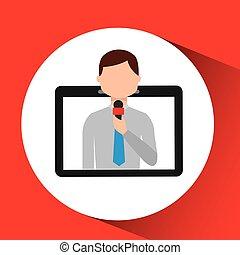 technology digital tablet news correspondent vector...