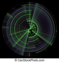 technology discs - Composition of abstract radial grid and...