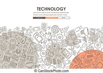 technology Doodle Website Template Design