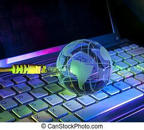 technology earth globe against fiber optic background