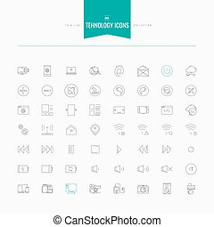 Technology, electronic, media, interface and more. Thin and line icons set