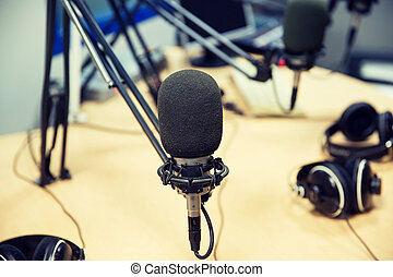 microphone at recording studio or radio station -...