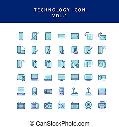 technology filled outline icon set vol1