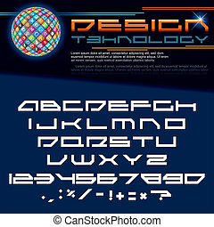 Technology Font. Vector Image