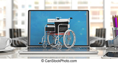 Wheelchair empty on computer laptop keyboard, blur office background. 3d illustration