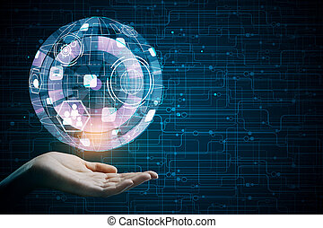 Technology, future and interface - Hand holding abstract...