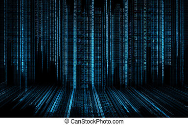 black blue binary system code background - technology,...