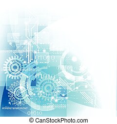 Technology futuristic digital background with gear and circuit, Vector illustration