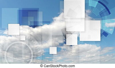 Technology futuristic video animation with sky cloudscape timelapse