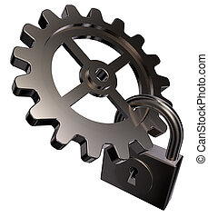 technology - gear wheel and padlock on white background - 3d...