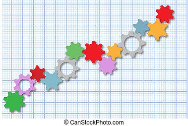 Technology gears tech business graph