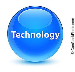 Technology glassy cyan blue round button