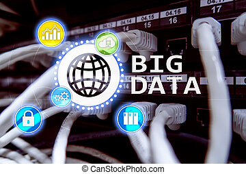technology., grand, server., internet, données, analyser