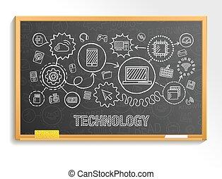 Technology hand draw integrate icons set on school blackboard