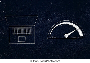 laptop next to speedometer going from normal to super speed