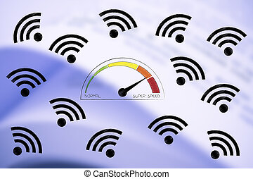 speedometer going from normal to super speed surrounded by wifi icons