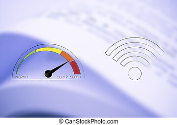 speedometer going from normal to super speed next to wifi icons