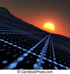 Technology Horizon - A blue grid vanishing point to horizon...