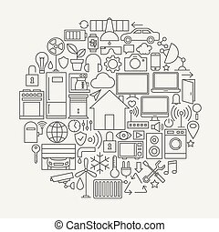 Technology House Line Icons Set Circle Shape