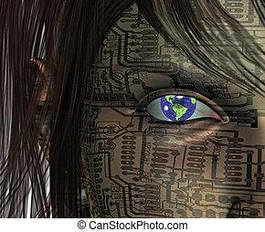 Technology Human with Earth Eye