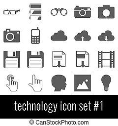 Technology. Icon set 1. Gray icons on white background.