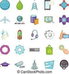 Technology icons set, cartoon style