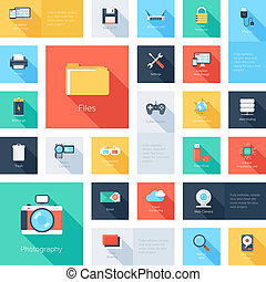 Technology icons - Vector collection of colorful flat...