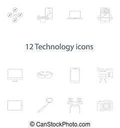 technology icons vector set in outline style