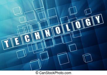 technology in blue glass blocks