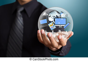 Technology in the hands of businessman
