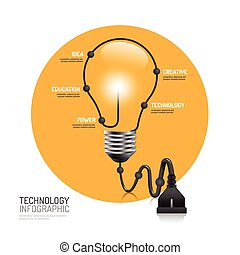 technology infographic plug line idea vector illustration. innovation education concept. can be used for layout, banner and web design.