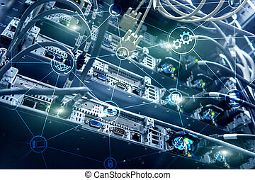 Technology infrastructure cloud computing and communication. Internet concept.