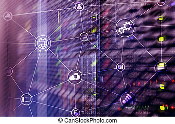 Technology infrastructure cloud computing and communication. Internet concept