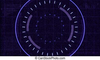 Technology interface blue target