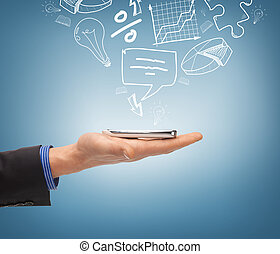hand holding smartphone with icons - technology, internet ...