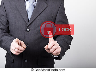 technology, internet and networking concept. man in a black business shirt. woman presses lock button on virtual screens