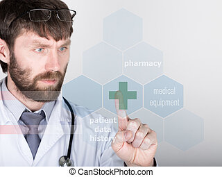 technology, internet and networking in medicine concept - medical doctor presses Cross button on virtual screens. Internet technologies in medicine