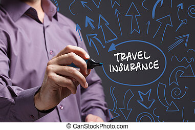 Technology, internet, business and marketing. Young business man writing word: travel insurance