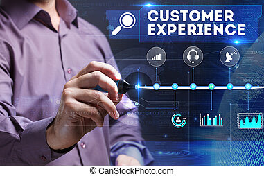 Technology, Internet, business and marketing. Young business person sees the word: customer experience
