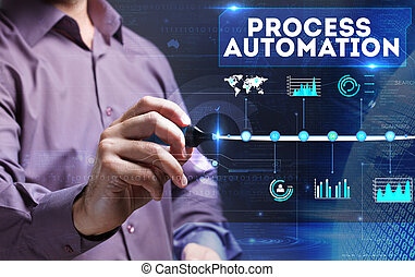 Technology, Internet, business and marketing. Young business person sees the word: process automation