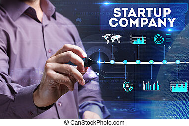 Technology, Internet, business and marketing. Young business person sees the word: startup company