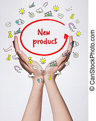 Technology, internet, business and marketing. Young business woman writing word:  New product